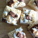 Rice Krispie Treats topped with melty chocolate, gooey toasted marshmallows and graham cracker bits. Heaven in your mouth.