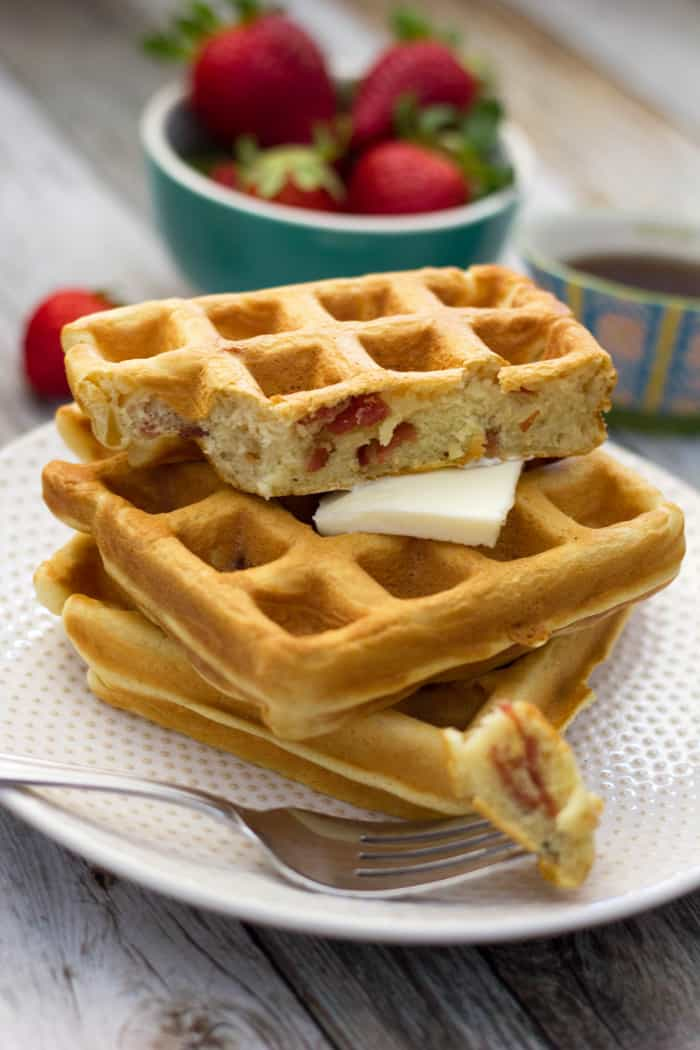 These homemade bacon waffles are fluffy, buttery and oh so delicious