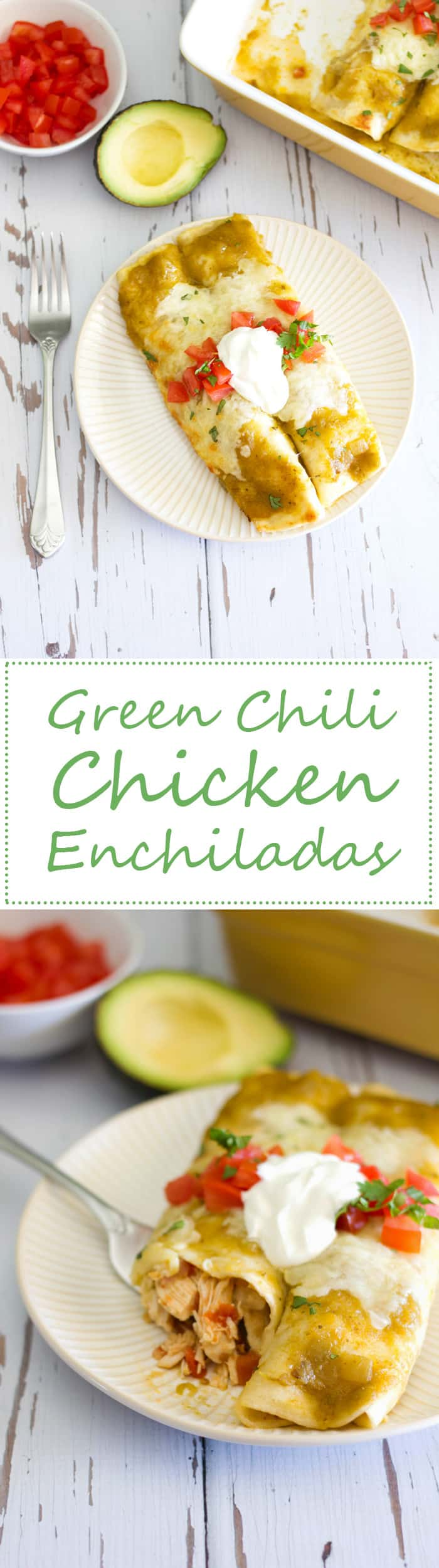 These easy green chili chicken enchiladas are out-of-this-world delicious and take little effort to put together!