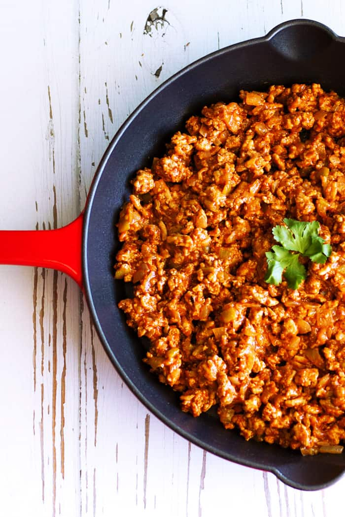 Turkey Taco Meat- This secret ingredient recipe for turkey taco meat is not only healthy, it is also one of the easiest, most flavorful and versatile recipes ever!