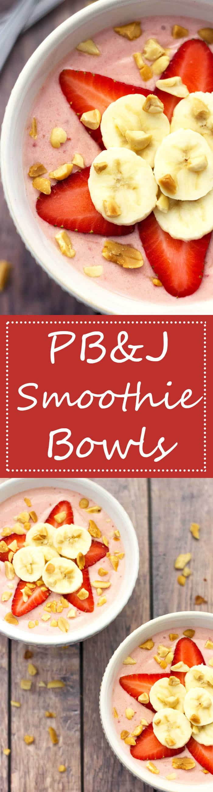 PB&J Smoothie Bowls - This recipe for Peanut Butter and Jelly Smoothie Bowls is one of the tastiest, most simple and nutritious, prepare-ahead breakfast recipes ever!