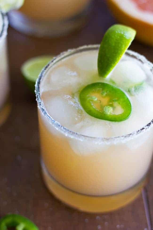 This sweet, tart and spicy Jalapeno Grapefruit Margarita is the perfect cocktail to satisfy all your taste buds!