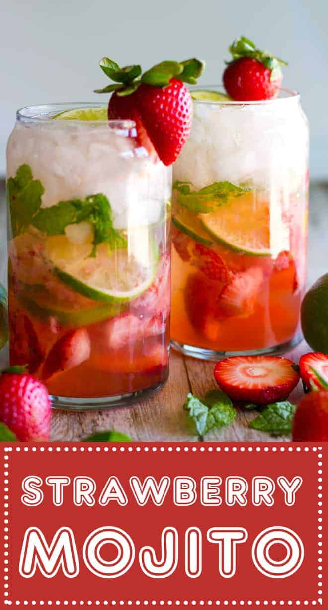 The PERFECT summertime cocktail! This Fresh Strawberry Mojito features muddled fresh strawberries and sugar, sweet mint and tart lime with the perfect hit of light rum!