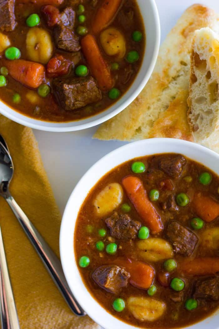 A rich and hearty stew with tender pieces of beef, gnocchi and plenty of veggies in a thick gravy sauce